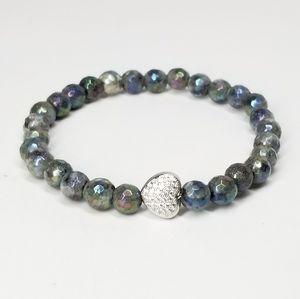 Labradorite Gemstone Pave CZ Heart Bracelet NEW